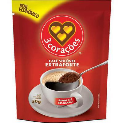CAFE 3 CORACOES SOLUV.E.FORTE 50G SACHE
