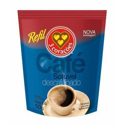 CAFE 3 CORACOES SOLUV.DESCAF.50G SACHE